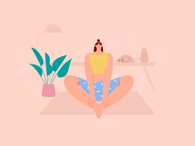 Woman yoga bound ankle poses illustration meditation yogas mindfulness vector flat illustration woman health wellness fitness yoga pose yoga illustration illustration yoga app exercise yoga character