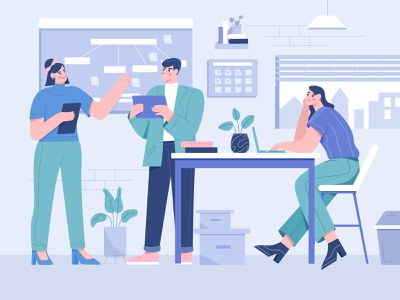 Work from Office Illustration workspace empowered finance financial man partner coworking presentation meeting team work working flat design illustrations team startup business b2b illustration woman character illustration