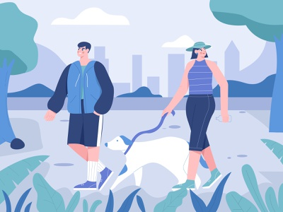 Walking with dog illustration character dogs walk in the park vacation woman walking man walking theme park park walking dog woman illustration illustrations illustration