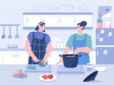 Cooking in the kitchen illustration vegetables fruits restaurant cake boil kitchen set fridge characteer empowered drink food baking bake woman kitchens cooking cook kitchen illustrations illustration