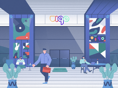 Lobby office illustration co-working space co-working company business work place character b2b illustration workspace building lobby front office office illustrations illustration