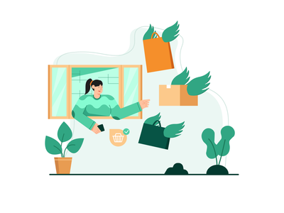 Delivery Order Illustrations startups b2b package delivery online market buy sell shoping shopping cloth order market shop online character e-commerce illustrations illustration