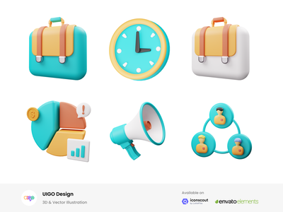 Business 3D Icon Illustration settings