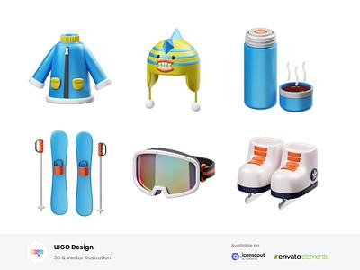 Winter 3D Illustration 3d asset illustration 3d illustration 3d bottle poals ski goggle boat snow ski coat winter