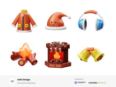 Winter 3D Illustration bell headset camp fire fire design