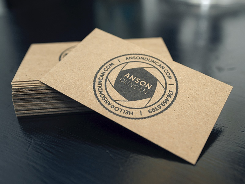Stamped Business Cards photographer business cards stamp kraft