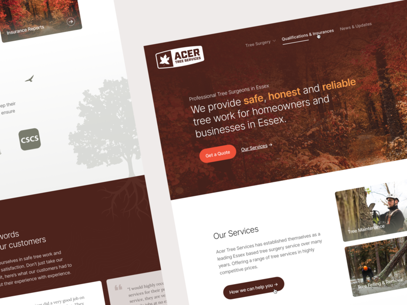 Acer Tree Services - Branding & Website tree logo branding surgeon tree web design ui web