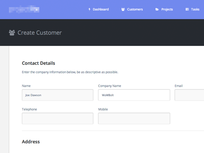 Create Customer web ui flat clean purp details form fontawesome