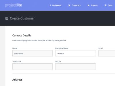 Create Customer web ui flat clean purp details form fontawesome
