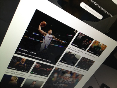 Refined Grid grid videos sporting moments web ui