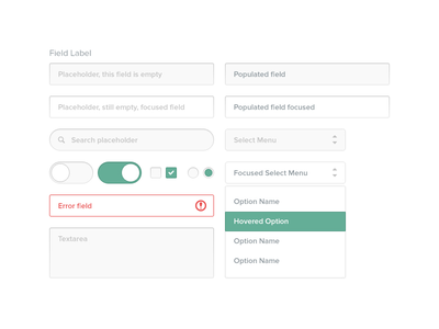 Form Elements web ui form inputs select checkbox radio toggle switch search text