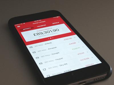 Santander iOS App - Sketch Exploration balance banking santander app ios sketch