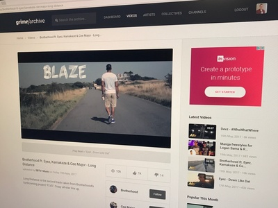 Grime Archive music video player ui web