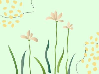 Pinky Flower illustration pattern yellow green nature