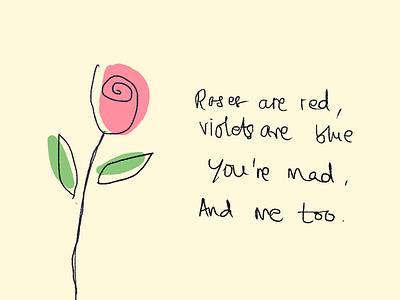 Rose green mad poem quote rose illustration