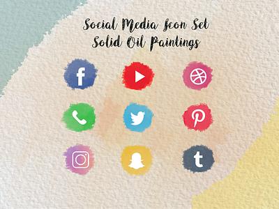 Icon Set Oil branding design illustration logo creative canvas oilpainting iconset socialmedia