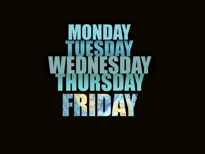 Time of the Week popup design weekend days week photoshop marble blue design black illustration