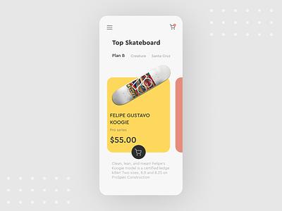 Skateboard E-commerce app UI concept design skater app ui design ui  ux userinterface ui skateboards skateboard e-commerce skateboard graphics e-shop e-commerce design e-commerce shop e-commerce app ecommerce e-comerce skating skate skateboarding skateboard