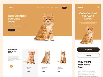 Cat Shop Landing Page Design website ecommerce pet design page landing shop cat