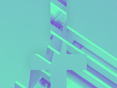 The Devil is in the Details line abstract architecture blue duotone cross design illustration