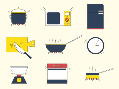 Cooking icons 60s retro icons illustrator cooking kitchen