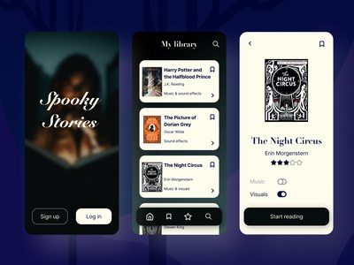 Spooky Stories mobile app scary books library halloween ui design weekly warm-up adobexd