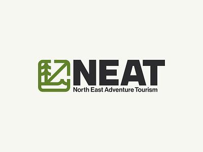 NEAT mtb bike mountainbike scotland northeast brand icon tourism adventure logo badge sea mountain forest