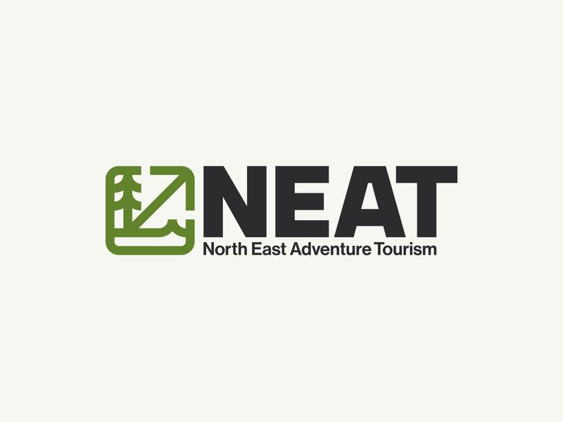 NEAT scotland northeast brand icon tourism adventure logo badge sea mountain forest