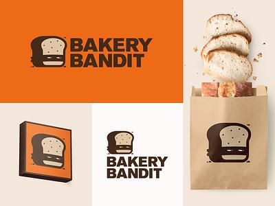 Bakery Bandit design logo icon brand identity mask bandit robber food baker bread