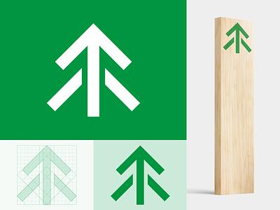 ARROW mountainbike wip branding brand identity mark icon logo grid mountain bike mtb outdoor forest mountain arrow tree wayfinding