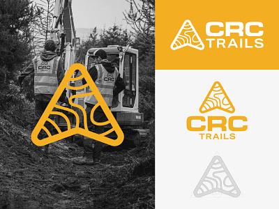 CRC TRAILS mountainbike branding design mark identity icon brand logo moutain arrow wayfinding contour trail mountain bike mtb