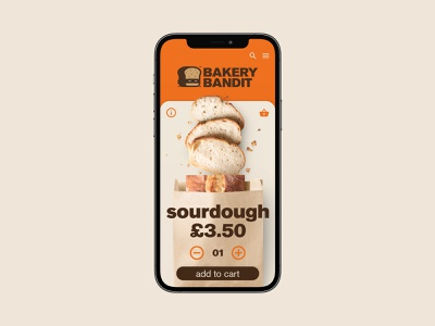Bakery Bandit UI baker bread design food bakery app