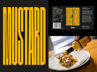 Mustard packaging design bottle typography type label sauce