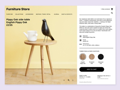 Furniture Store table cart shop design web ui