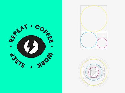 COFFEE · WORK · SLEEP · REPEAT lightning eye grid golden ratio