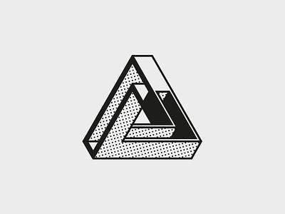 Triangle logo halftone 3d monotone optical illusion shape