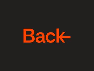 Back wordmark arrow type logo typogaphy