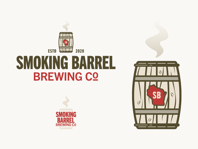 SMOKING BARREL wisconsin identity brand design icon brewery barrel smoke microbrewery logo beer