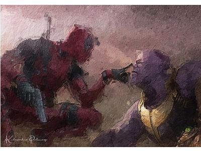 deadpool digital painting design