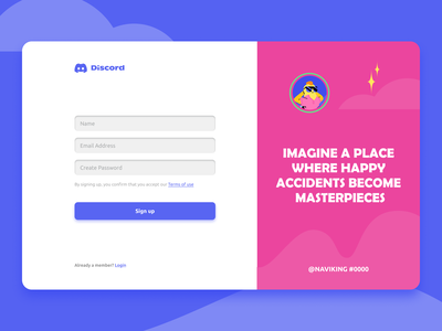Discord - Website Sign Up Page branding website signup signup page discord uiux design