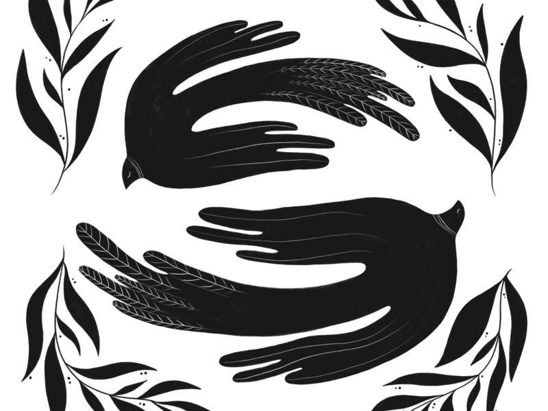 facing birds whimsical opposite black and white feathers flying birds design illustration ink black
