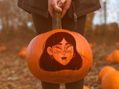 spooky season - spooky year pumpkin dribbbleweeklywarmup dribbble design purple illustration illustrator face black hair halloween design woman vampire drawing procreate ink black dark spooky season spooky halloween
