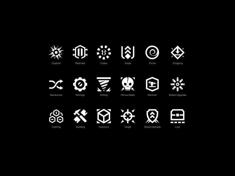 Game UI Glyphs uiart concept design iconographic icons pack game design iconset iconography iconsdesign icons uidesign ui gameui