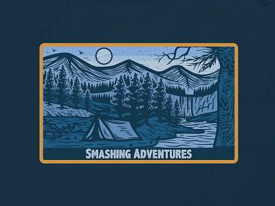 Smashing Adventures woodengrafis vintage vector tshirtdesign logo illustration handdrawn design