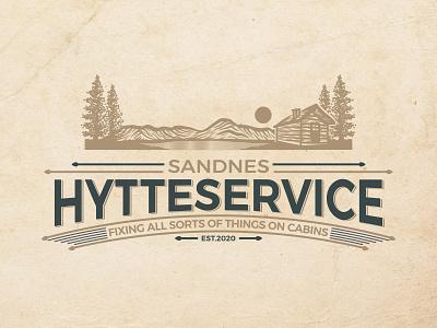 Hytteservice Logo minimal branding woodengrafis vintage vector tshirtdesign logo illustration handdrawn design