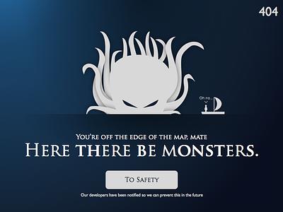 DailyUI 008 404 Page monsters monster kraken pirates dailyui ux 008 ui