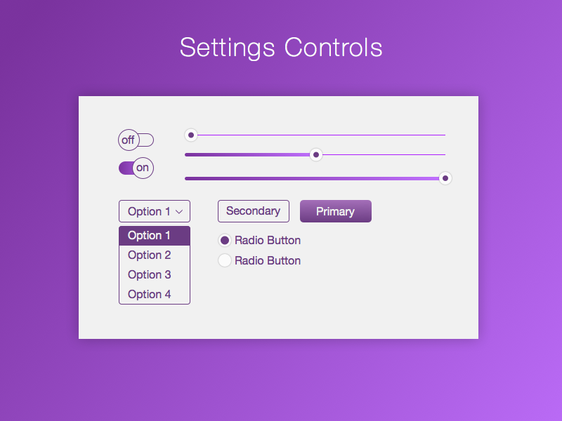DailyUI 007 Settings Controls 007 controls settings purple ui ux dailyui