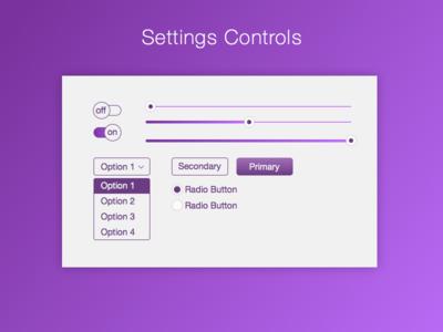DailyUI 007 Settings Controls