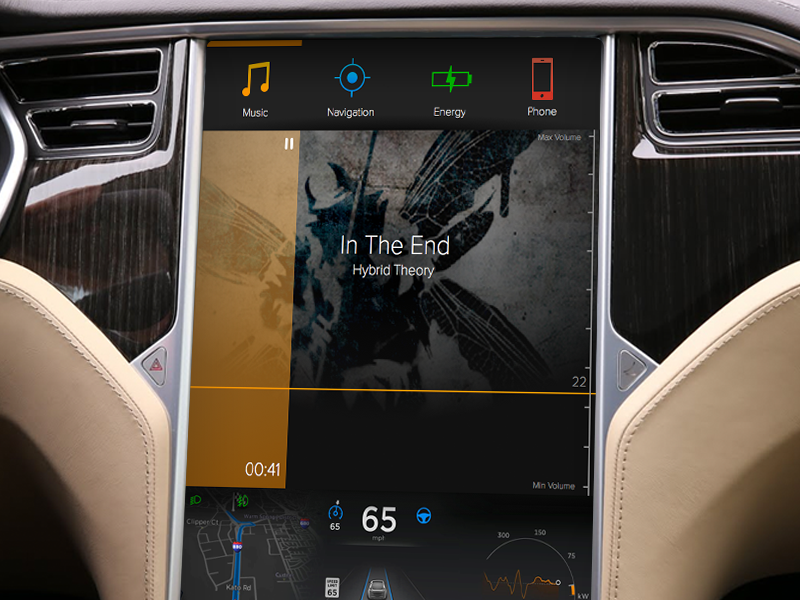 DailyUI 009 Music Player screen player music dailyui ux 009 ui tesla touch car