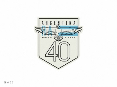 W05 - Ruta 40 stroke logo geometric shield patagonia road route badge bird condor 40 ruta argentina